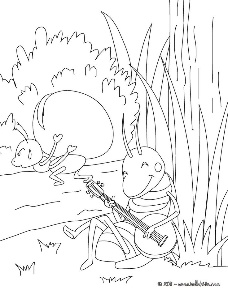 THE GRASSHOPPER AND THE ANT coloring page