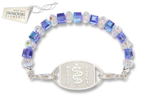 Sterling Silver Spectrum Blue Crystal Bracelet - Standard Emblem (Made with SWAROVSKI ELEMENTS)   Australia MedicAlert Foundation  #medicalert #medical_ID #medical_bracelet #medical_bracelet #safety #swarovski