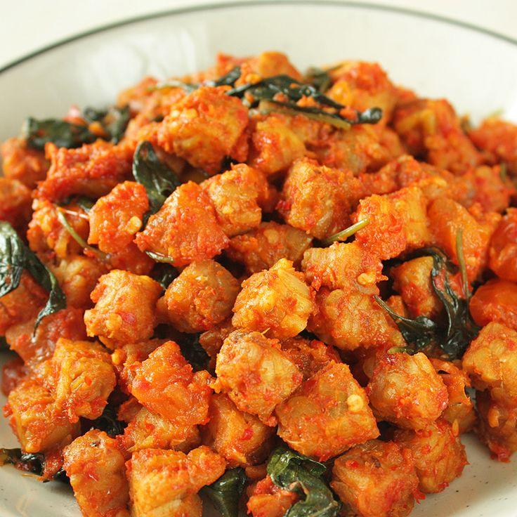 Tempeh Goreng Sambal Kemangi - Fried Tempeh in Basil Chili Sauce