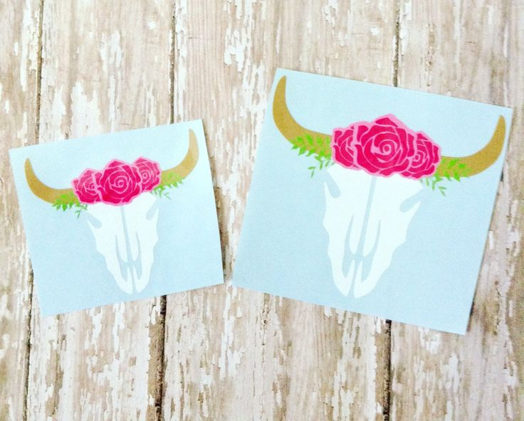 Bull skull decal, bull skull with roses, bull skull with flowers, floral bull skull decal, custom decal, gypsy decal, monogram decal, decal by SouthernChicDesigns1 on Etsy