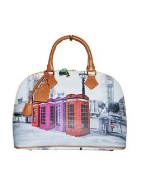 Carla Mosse Creations Y Not? Phone Booth Print Leather Bag. Buy @ http://thehubmarketplace.com/large-y-not