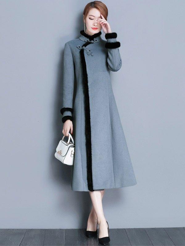 Gray Wool Padded Qipao / Cheongsam Dress with Fur Trim