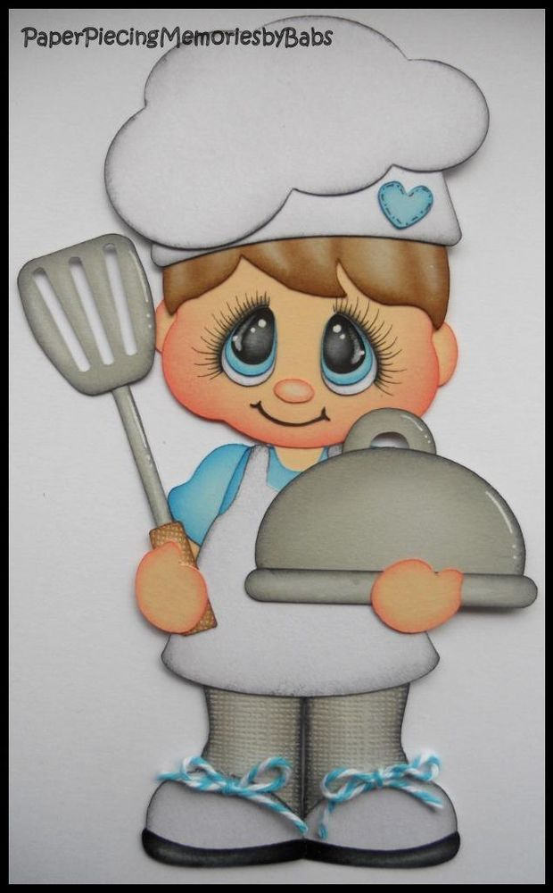 Premade Paper Pieced Boy Chef for Scrapbook Pages-by Babs