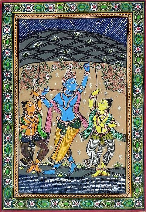 Lord Krishna Lifts Govardhan Mountain in 2019 | art | India painting