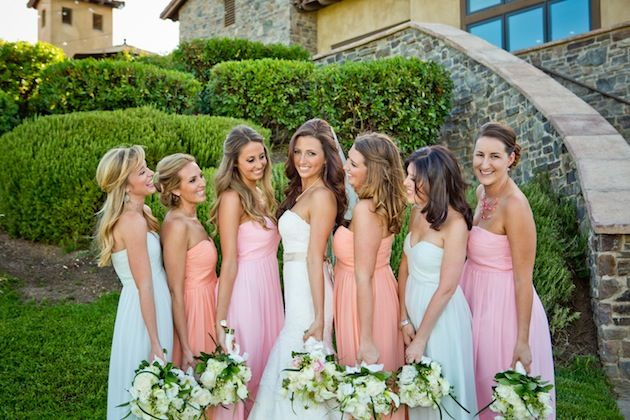 bridesmaids dresses in dreamy pastel hues by Donna Morgan