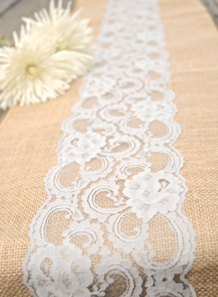 #Lace and #burlap make for an easy, budget friendly, and gorgeous rustic #wedding table i decor #DIY burlap square w/ lace on top for center piece  Would love with black lace.