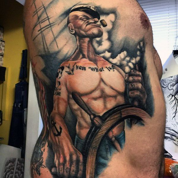 70 Popeye Tattoo Designs For Men – Spinach And Sailor Ideas
