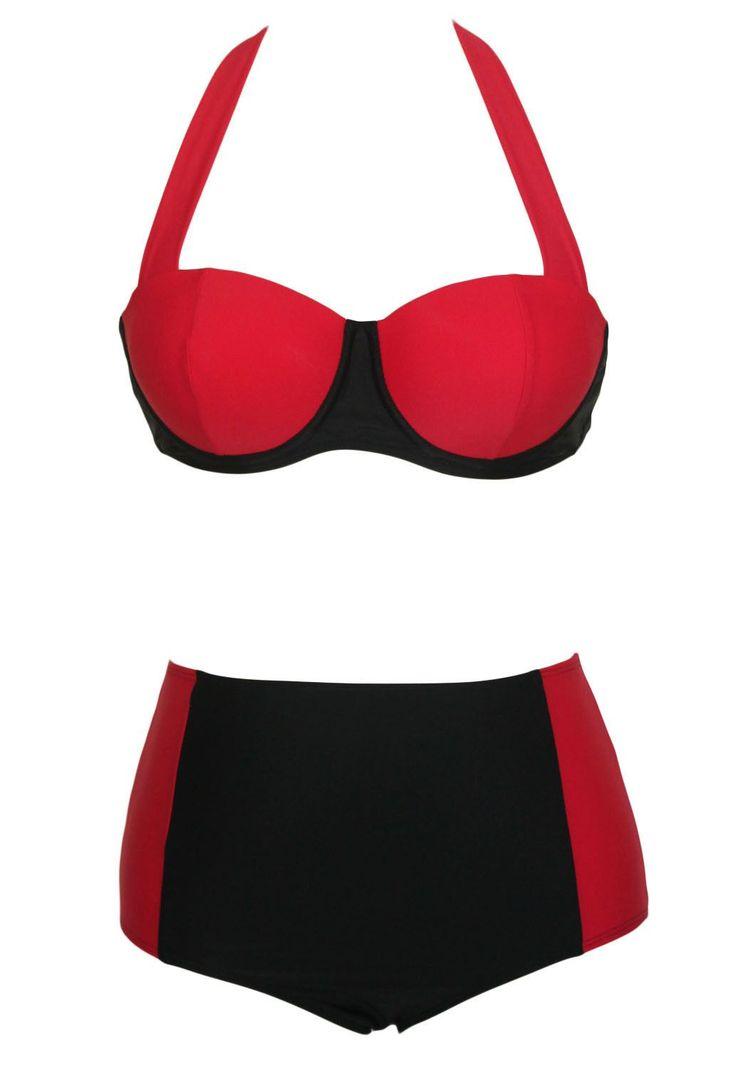 Contrast Black Red High-waisted Bikini Swimsuit
