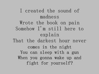 "From this song (Shinedown's ""Sound of Madness""), I took the lyric for my artwork possibility--""...The darkest hour never comes in the night..."" Across my left hip."