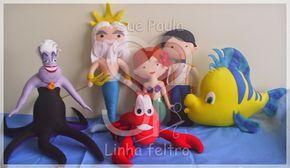 """Sue Paula - Linha Feltro: Personagens do filme """"A Pequena Sereia"""": Ariel, Príncipe Eric, Tritão, Linguado, Sebastião e Úrsula (Bruxa do Mar)"""
