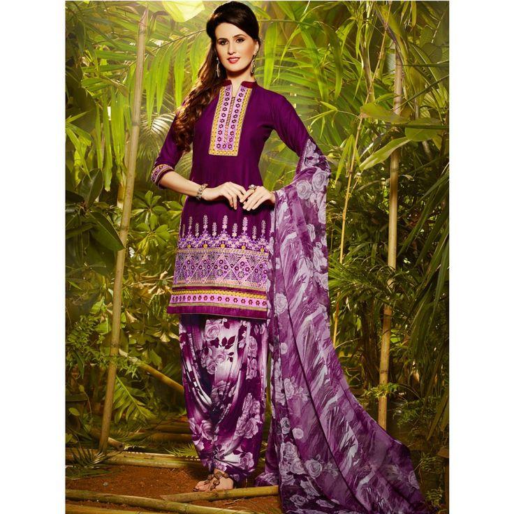 Purple Cotton Festival #Patiyala Kameez With Dupatta- $28.97