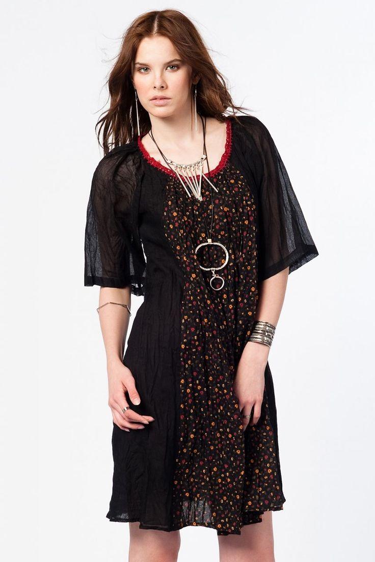 Otantik Foça Elbise - Siyah