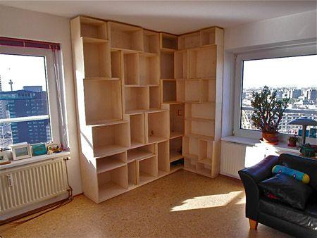 boekenkast 3D berken multiplex