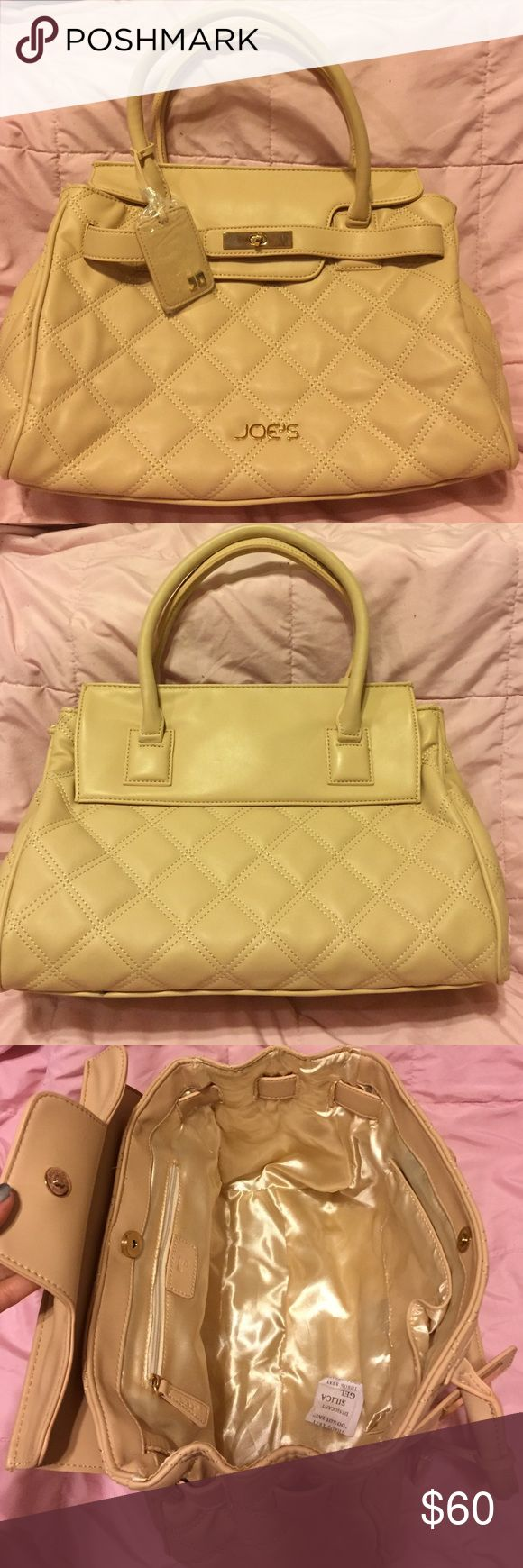 NWOT Authentic Joe's tan quilted handbag 👜 Made with 100% vegan leather this beauty is super soft and classy. Inside is 100% polyester. Has one large zipper pocket and two smaller ones on the opposite side. Magnetic closure and a flap that goes over and attaches to the outside of the purse so no one can see inside. Gold hardware. Super roomy! Happy to take more pictures upon request! Joe's Jeans Bags