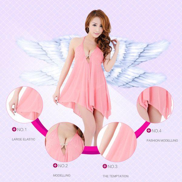 Sexy Women Pink Micro Transparent Backless Gauze Sleepwear