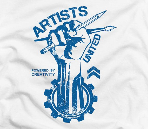 Artists United - gift idea for graphic designer artistic revolution freedom creative unique painters drawing sketch tshirt t-shirt tee shirt on Etsy, $14.95