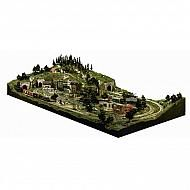 This kit includes materials to build a 4' x 8' (121 cm x 243 cm) HO scale lightweight layout. Includes risers and incline/declines to build mountains, hills and low-lying areas. Using the foam sheets and plaster cloth you can create flat, elevated areas for town and buildings, and terrain. The kit does not require any additional support structures.  Track is not included.