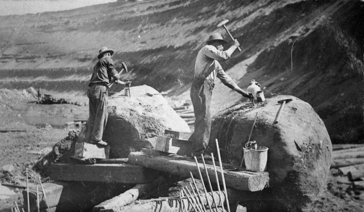 Mining On The Mesabi Iron Range Hand Drilling Holes Into