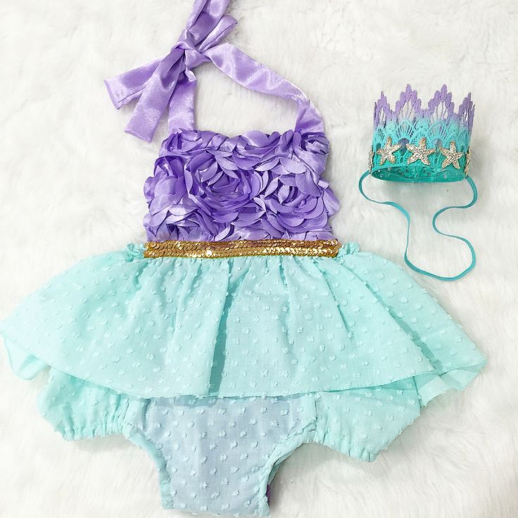 Mermaid Tutu Dress & Romper Outfit so perfect for your Mermaid party, Disney trips and any special occasion!  Sequin trim on bodice of Mermaid romper.  This