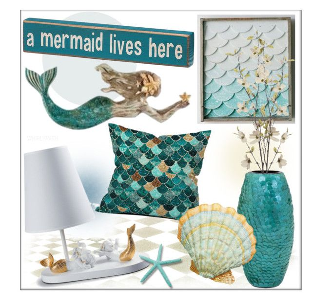 Mermaid! by whirlypath on Polyvore featuring interior, interiors, interior design, home, home decor, interior decorating, DENY Designs, Pier 1 Imports and Lladró