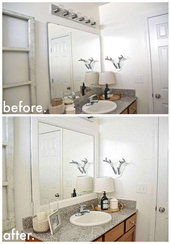 1000 ideas about frame bathroom mirrors on pinterest - Framing an existing bathroom mirror ...