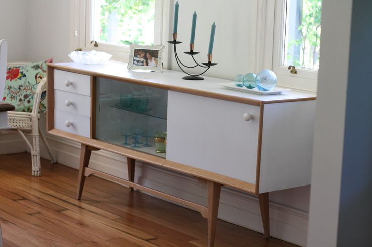 Mid-century buffet refurbished in pale blue with led lighting