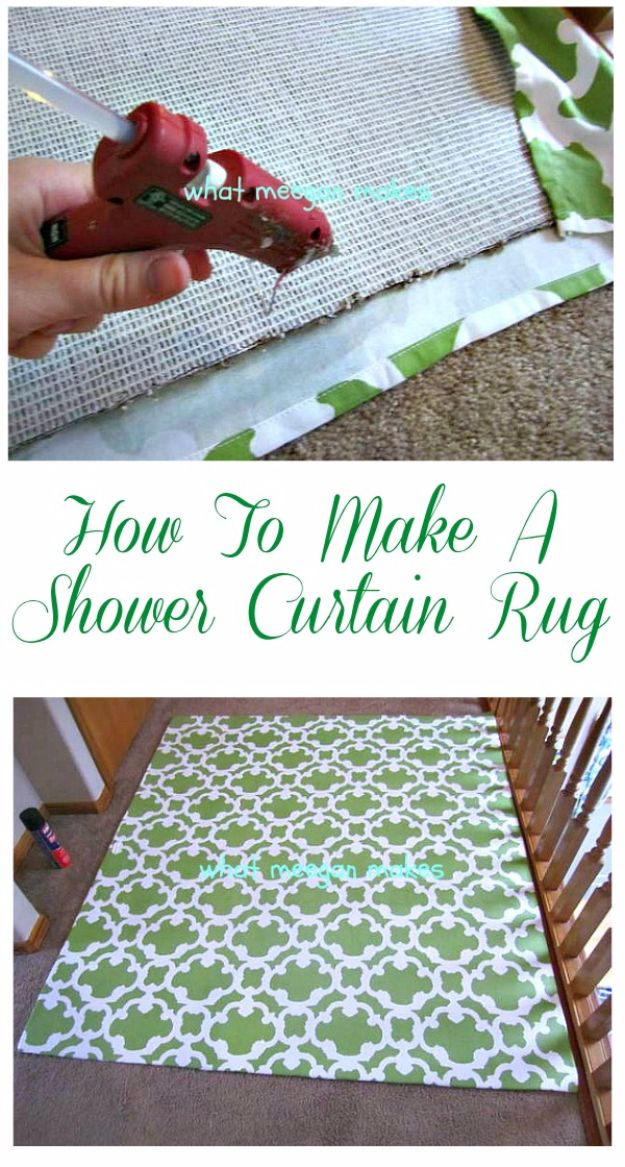 Easy DIY Rugs and Handmade Rug Making Project Ideas - Shower Curtain Rug - Simple Home Decor for Your Floors, Fabric, Area, Painting Ideas, Rag Rugs, No Sew, Dropcloth and Braided Rug Tutorials http://diyjoy.com/diy-rugs-ideas