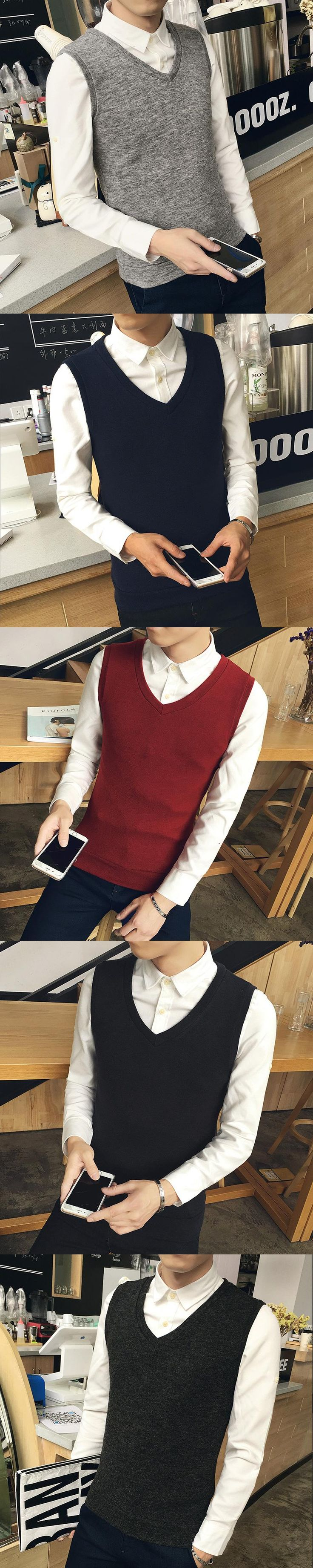 2017 Autumn Men's Casual Sweater Vest, Fashion Winter Warm Sweater, Solid Color V-necked Sleeveless Sweater  S-XXL Blue, Black
