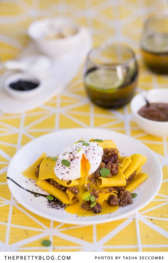 Bobotie with Yellow Pappardelle and Poached Egg | Recipes | The Pretty Blog