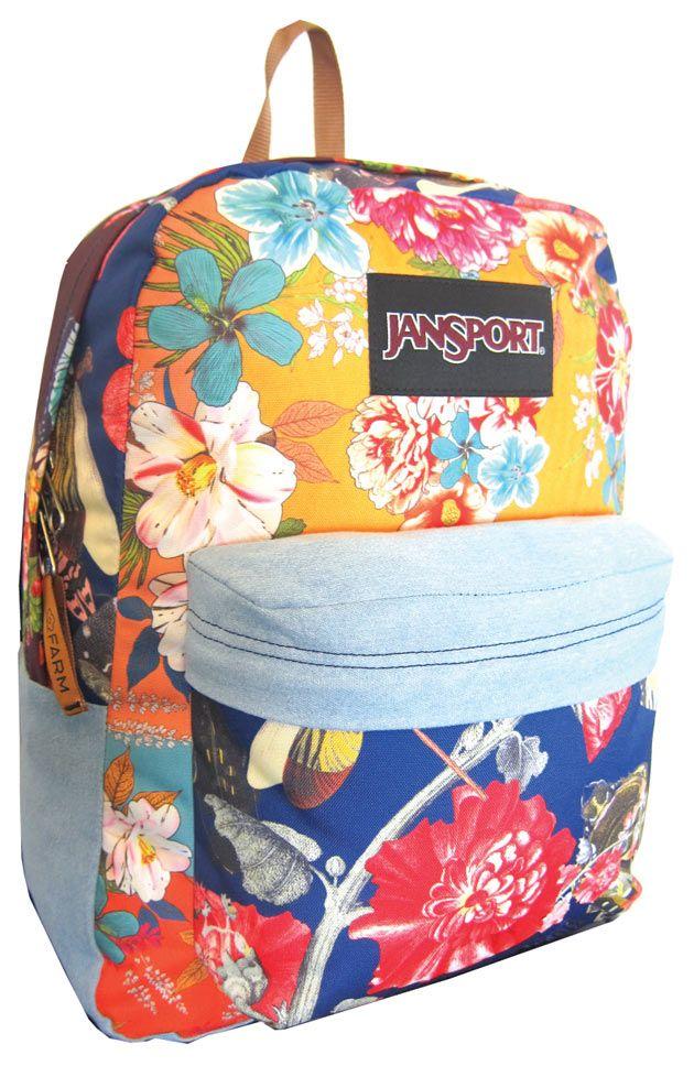 Mochila Floral com jeans - bem charmosa, hein? É de uma parceria entre a Jansport e a Farm!