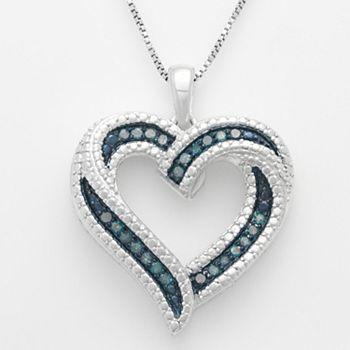 Sterling Silver 1/4-ct. T.W. Blue Diamond Ribbon Heart Pendant #KohlsDreamGifts