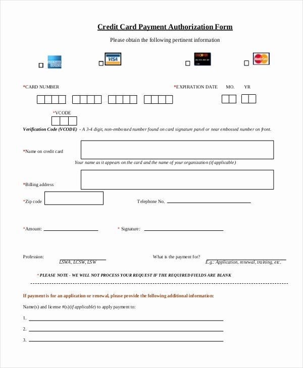 Payment Authorization Form Template Beautiful Free 12 Sample