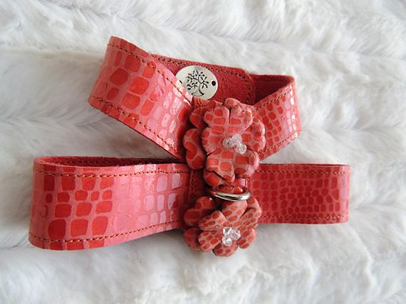 Small Dog Harness Leather Dog Harness Pink Dog Harness
