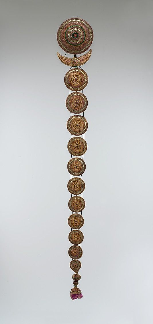 Plait Ornament (Jadanagam). Head ornament. 18th–19th century. India, probably Madras. Gold; inset with rock crystal, rubies, emeralds, and amethysts