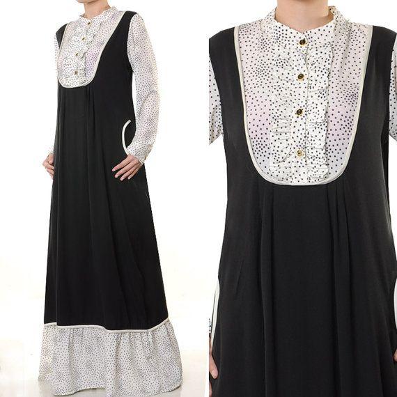 2515 B&W High Neck Ladies Muslim Abaya Long Sleeves by MissMode21, $32.00