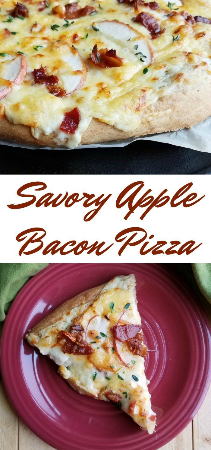 This pizza is loaded with delicious gooey cheese, bacon, apples and thyme. You will not believe how creamy and delicious it is, not to mention how good it smells! #appleweek