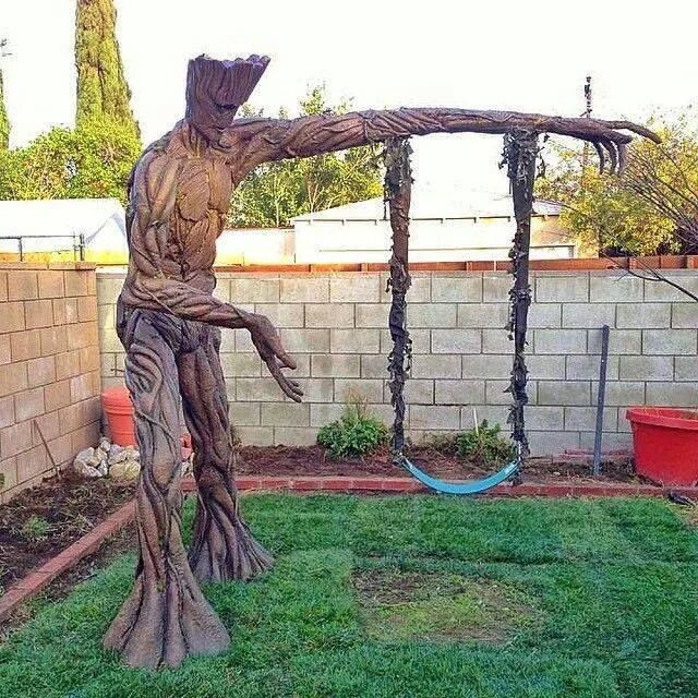Oh, to figure out how this is done. Maybe foam spray over chicken wire on a swing set, carve into shape and then paint ????