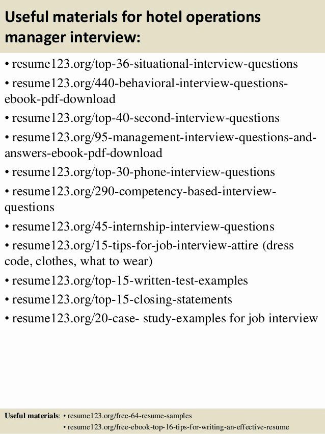 Operations Manager Resume Sample Pdf Inspirational Top 8 Hotel Operations Manager Re In 2020 Resume Template Professional Manager Resume Management Interview Questions