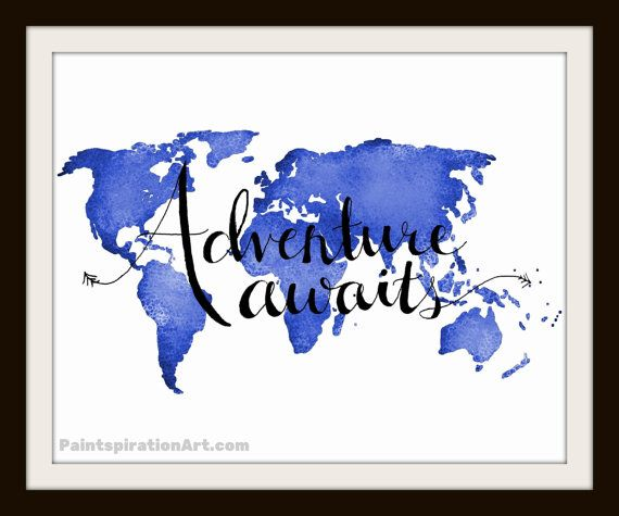 World Map Artwork Adventure Awaits Blue Wall Art - Travel Quote Art Typography Print - Wanderlust Art Gifts for Boyfriend Gift for Traveler