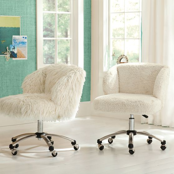 Ivory Furlicious Wingback Desk Chair From PBteen.