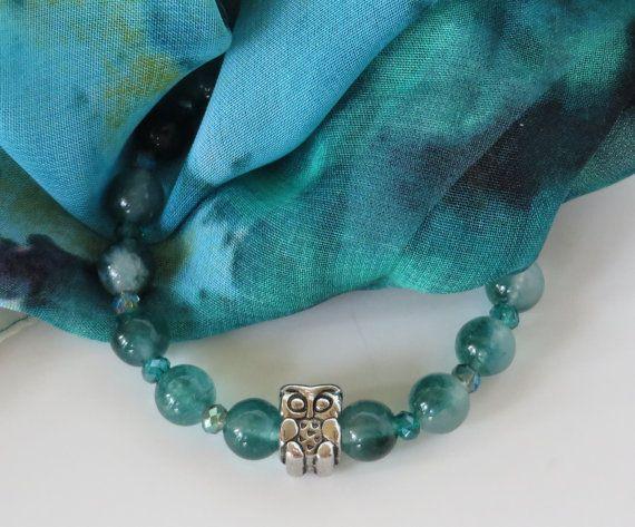 Owl Bracelet / Teal Bead Bracelet / Jade by BeadablesBracelets