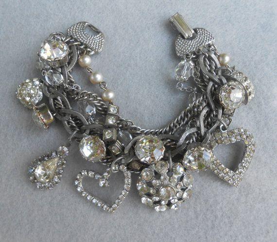 Rhinestone Assemblage Charm Bracelet Statement Mixed by Vinchique, $95.00