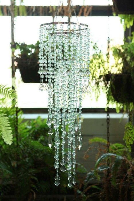 sparkly gem hanging bangles DIY no light chandelier