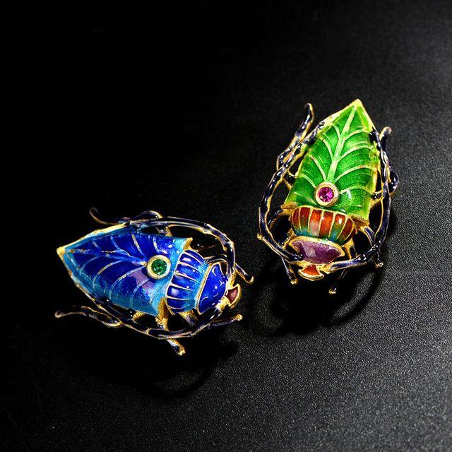 Cloisonne esmalte broche de Plata antiguo Beijing esmalte artesanía insectos broche