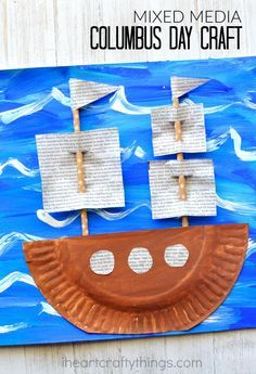 Make this gorgeous Mixed Media Columbus Day Craft after learning about early…