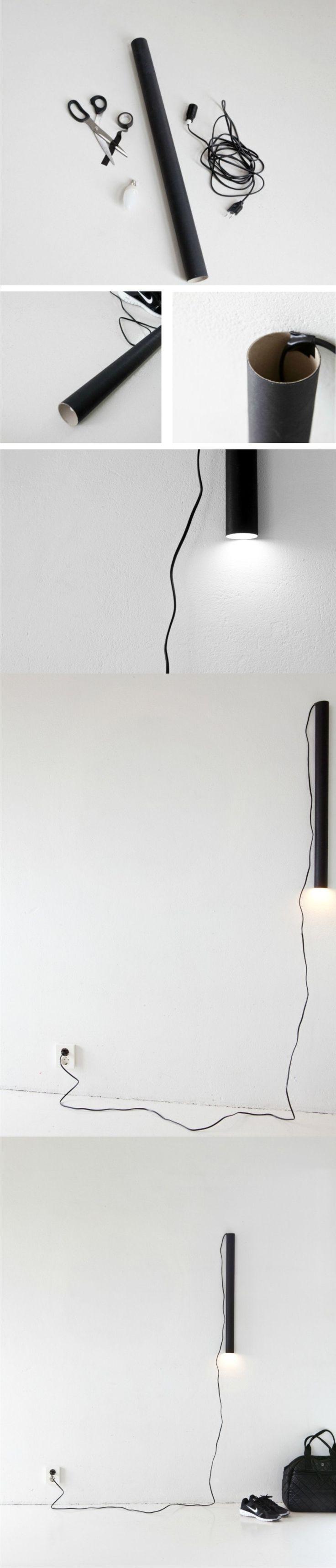 Lámpara DIY con tubo de cartón - annaleenashem.blogspot.com - DIY Cardboard Tube Lamp