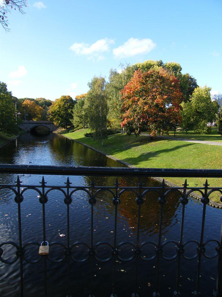Fall and locks in Riga, Latvia