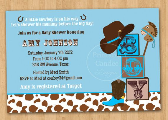 Little Cowboy Baby Shower Invitation  Custom by printablecandee, $10.00