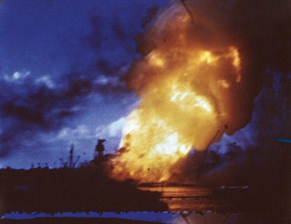 USS Arizona explodes at Pearl Harbor after Japanese attack, Dec. 7, 1941.