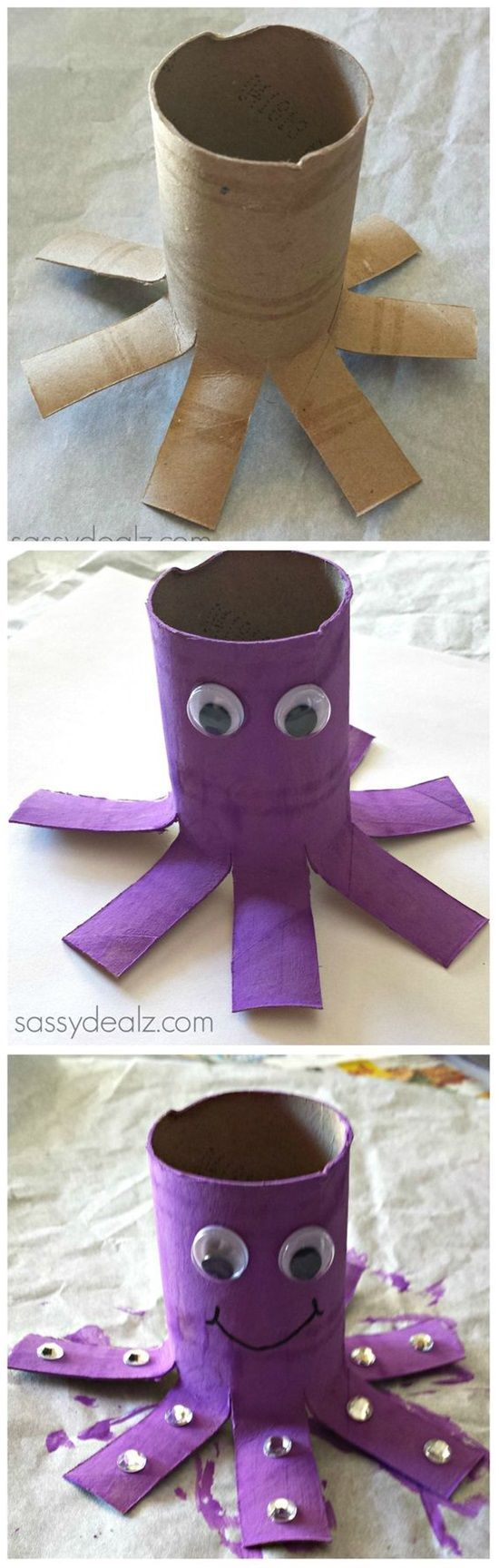 We love toilet paper rolls! Darling octopus paper roll craft for kids.
